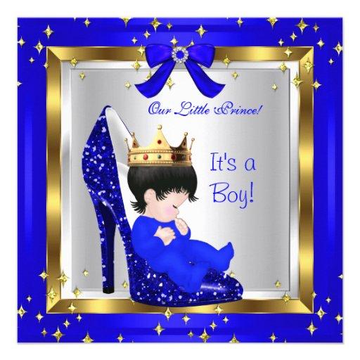 Baby Shower Cute Boy Prince Royal Blue Shoe 6 Custom Announcements