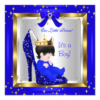 "Baby Shower Cute Boy Prince Royal Blue Shoe 6 5.25"" Square Invitation Card"