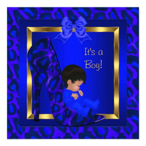 african american royal blue gold baby shower boy in shoe high heels