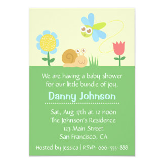 Baby Shower: Cute Dragonfly & Snail in a garden Card