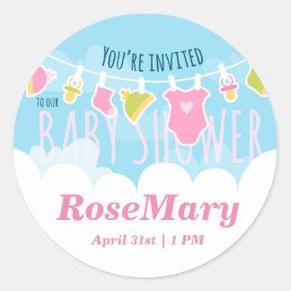 Baby Shower cute laundry Round Sticker