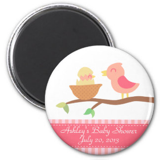 Baby Shower: Cute pink bird with just hatched baby Magnet