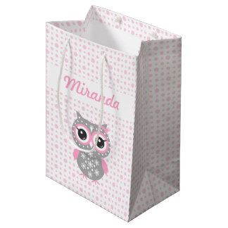 Baby Shower Cute Pink Owl Gift Bag