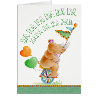 Baby shower cute rhino watercolor art card