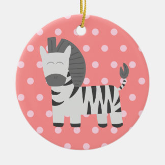 Baby Shower: Cute zebra with pink polka dots Round Ceramic Ornament