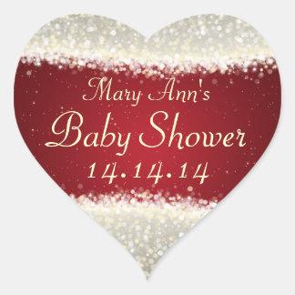 Baby Shower Date Dazzling Sparkles Red Heart Sticker