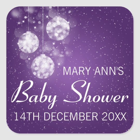 Baby Shower Date Festive Baubles Purple Square Sticker