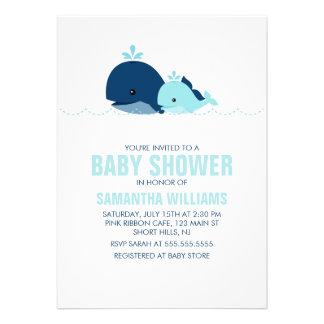 Baby shower de baleine de maman et de bébé bleu
