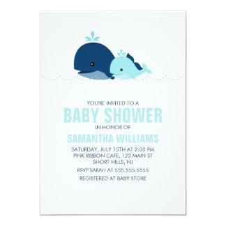 Baby shower de baleine de maman et de bébé {bleu} carton d'invitation  12,7 cm x 17,78 cm