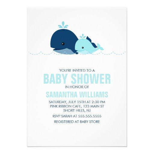 Baby shower de baleine de maman et de bébé {bleu} cartons d'invitation personnalisés