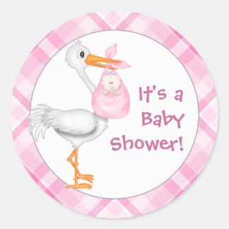 Baby shower de cigogne et de bébé sticker rond