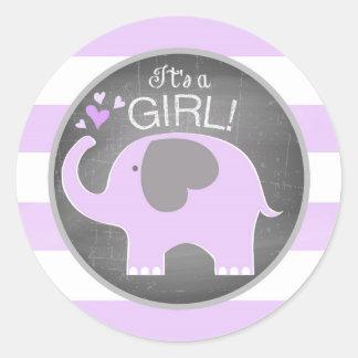 Baby shower de fille de rayure d'éléphant de sticker rond