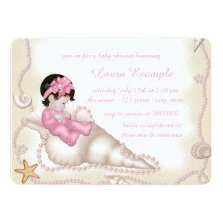 Baby shower de plage de filles carton d'invitation  13,97 cm x 19,05 cm