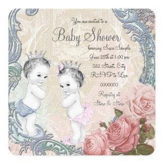Baby shower de prince et de princesse Twin Carton D'invitation 13,33 Cm