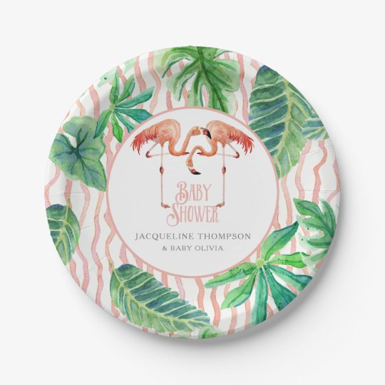 Baby Shower Decor Leaf Pink Flamingo Watercolor 7 Inch Paper Plate