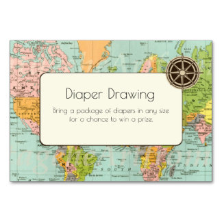 Baby Shower Diaper Drawing Insert- Multicolor Map Card