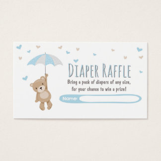Baby Shower Diaper Raffle Card Teddy Bear Blue