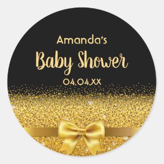 Baby Shower elegant black with golden bow Classic Round Sticker