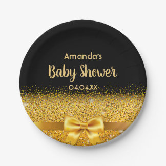 Baby Shower elegant black with golden bow Paper Plate