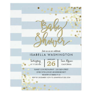 Baby Shower | Elegant Gold Confetti & Blue Stripes Card
