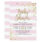 Baby Shower | Elegant Gold Confetti & Pink Stripes Card