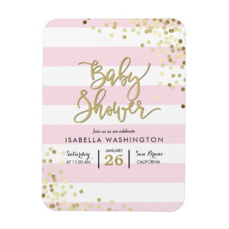 Baby Shower | Elegant Gold Confetti & Pink Stripes Magnet