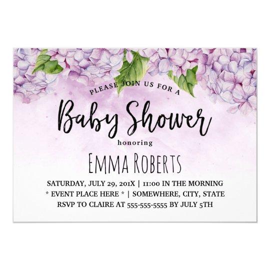 Baby Shower Elegant Purple Hydrangea Floral Card