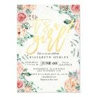 Baby Shower Elegant Watercolor Floral Gold Script Card