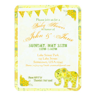 Baby Shower Elephant Flowers Yellow Card