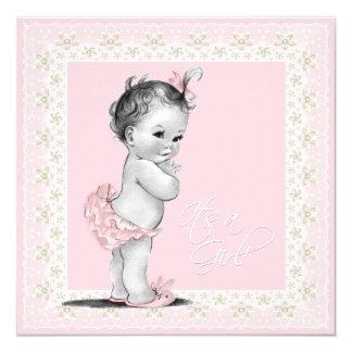 Baby shower en ivoire et rose carton d'invitation  13,33 cm