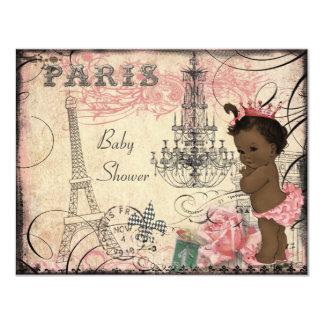Baby shower ethnique de Tour Eiffel de princesse Carton D'invitation 10,79 Cm X 13,97 Cm