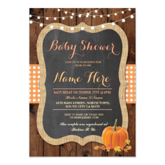 Baby Shower Fall Pumpkin Autumn Check Invite