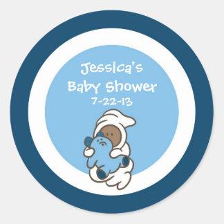 Baby Shower Favor Sticker (Blue boy, dark skin)