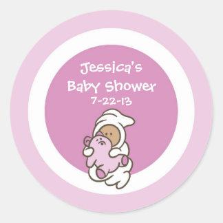 Baby Shower Favor Sticker (Pink Girl, Medium Skin)