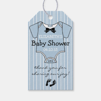 Baby Shower Favor Tag Dusty Blue Stripes Pack Of Gift Tags
