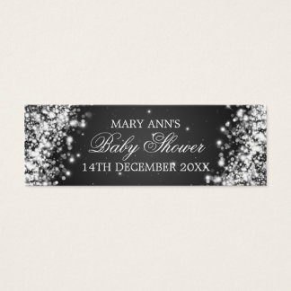 Baby Shower Favor Tag Sparkling Wave Black Mini Business Card