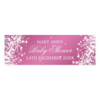 Baby Shower Favor Tag Sparkling Wave Pink Mini Business Card