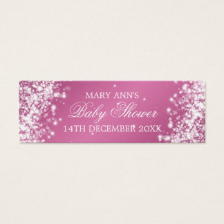 Baby Shower Favor Tag Sparkling Wave Pink Mini Business Card