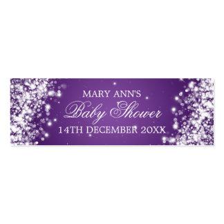 Baby Shower Favor Tag Sparkling Wave Purple Pack Of Skinny Business Cards