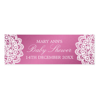 Baby Shower Favor Tag Vintage Lace Pink Mini Business Card