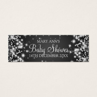 Baby Shower Favor Tag Winter Sparkle Black Mini Business Card