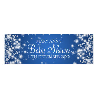 Baby Shower Favor Tag Winter Sparkle Blue Business Card