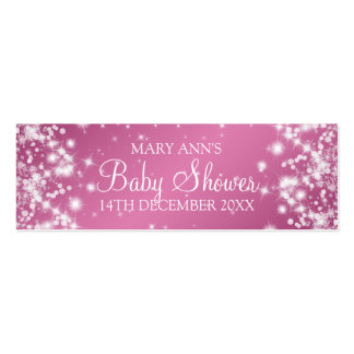 Baby Shower Favor Tag Winter Sparkle Pink Business Cards