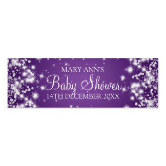 Baby Shower Favor Tag Winter Sparkle Purple Mini Business Card