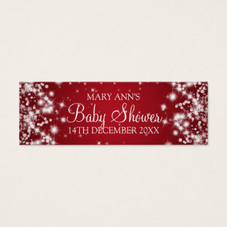 Baby Shower Favor Tag Winter Sparkle Red Mini Business Card
