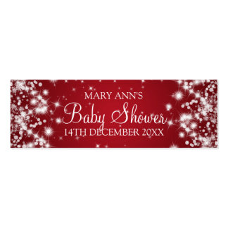 Baby Shower Favor Tag Winter Sparkle Red Pack Of Skinny Business Cards