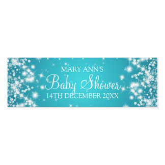 Baby Shower Favor Tag Winter Sparkle Turquoise Pack Of Skinny Business Cards