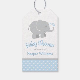Baby Shower Favor Tags   Elephant Blue Gray