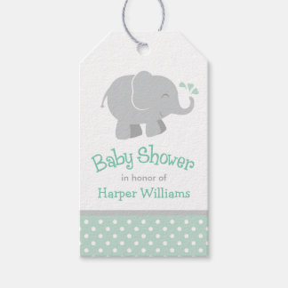 Baby Shower Favor Tags | Elephant Mint Gray