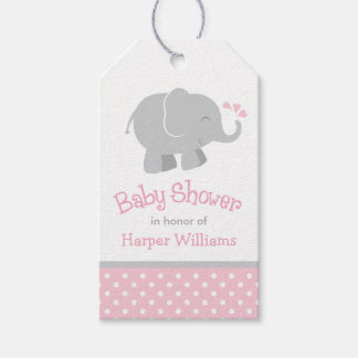 Baby Shower Favor Tags | Elephant Pink Gray